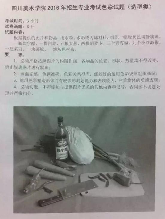 2016四川美术学院考试题目 打印页面 画室之家